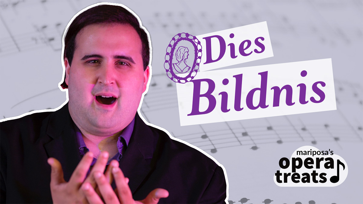 Against a light purple background of music notes, a graphic depicts a cutout photo of a man with mixed racial heritage bathed in pink light, singing with hands uplifted. Italicized text reads, Dies Bildnis, with a small cameo-like portrait drawing next to the words. In the corner is a stylized logo featuring a cloud and a music note, saying, Mariposa's opera treats.