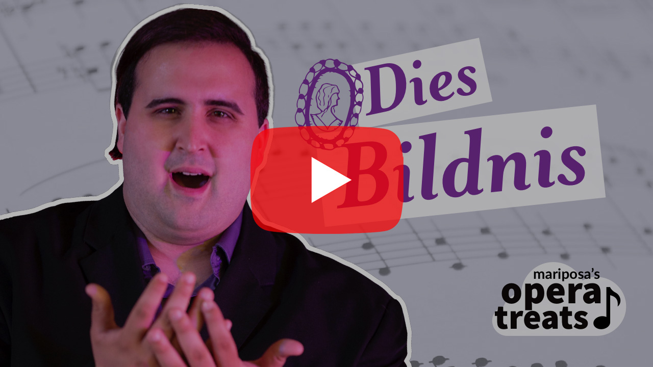 A YouTube thumbnail depicts a red play button, hovering over an image of performer Lyndon Ladeur on a purple background with music notes, the song title Dies Bildnis, and the logo Mariposa's Opera Treats with a stylized cloud and music note.