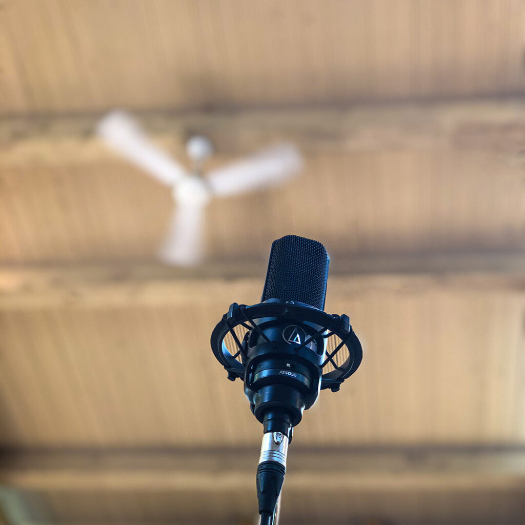 Closeup of a black condenser microphone, viewed from below, with a high wooden ceiling blurred in the background.